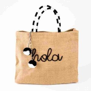 "Papyrus Embroidered ""hola"" Jute Tote Bag"